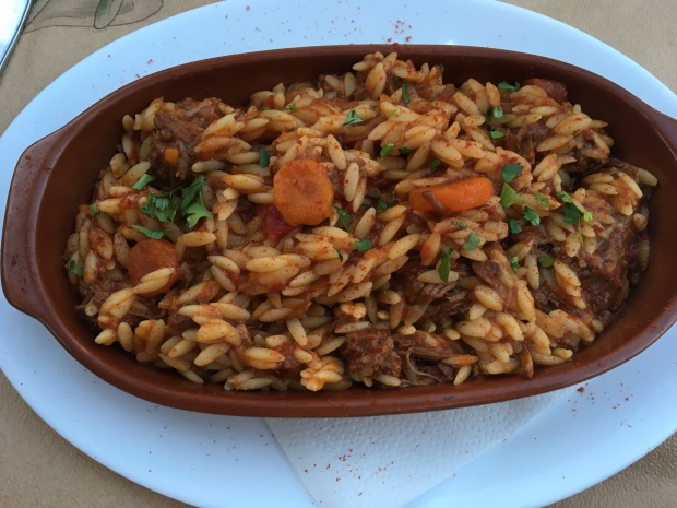 Beef stew with Orzo pasta greek