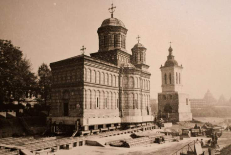 The Mihai Vodă Monastery was moved and placed behind Soviet-style apartment blocks. Photograph Courtesy of Eugeniu Iordăchescu